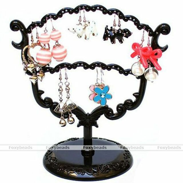 Black Tree Display Stand Holder Organizer For 28 Holes Earring Jewelry Show Rack