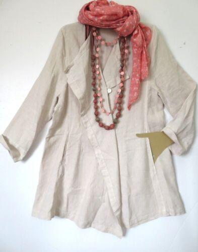 2 Størrelse Dusky Lagenlook Lyserød Beige Frakke Oska 100 Kimono Oversized Linen g1wC55xq