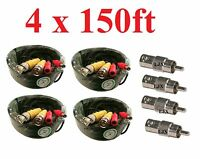 (4) New 150ft BNC CCTV Video Power Cable CCD Security Camera DVR Wire Cord