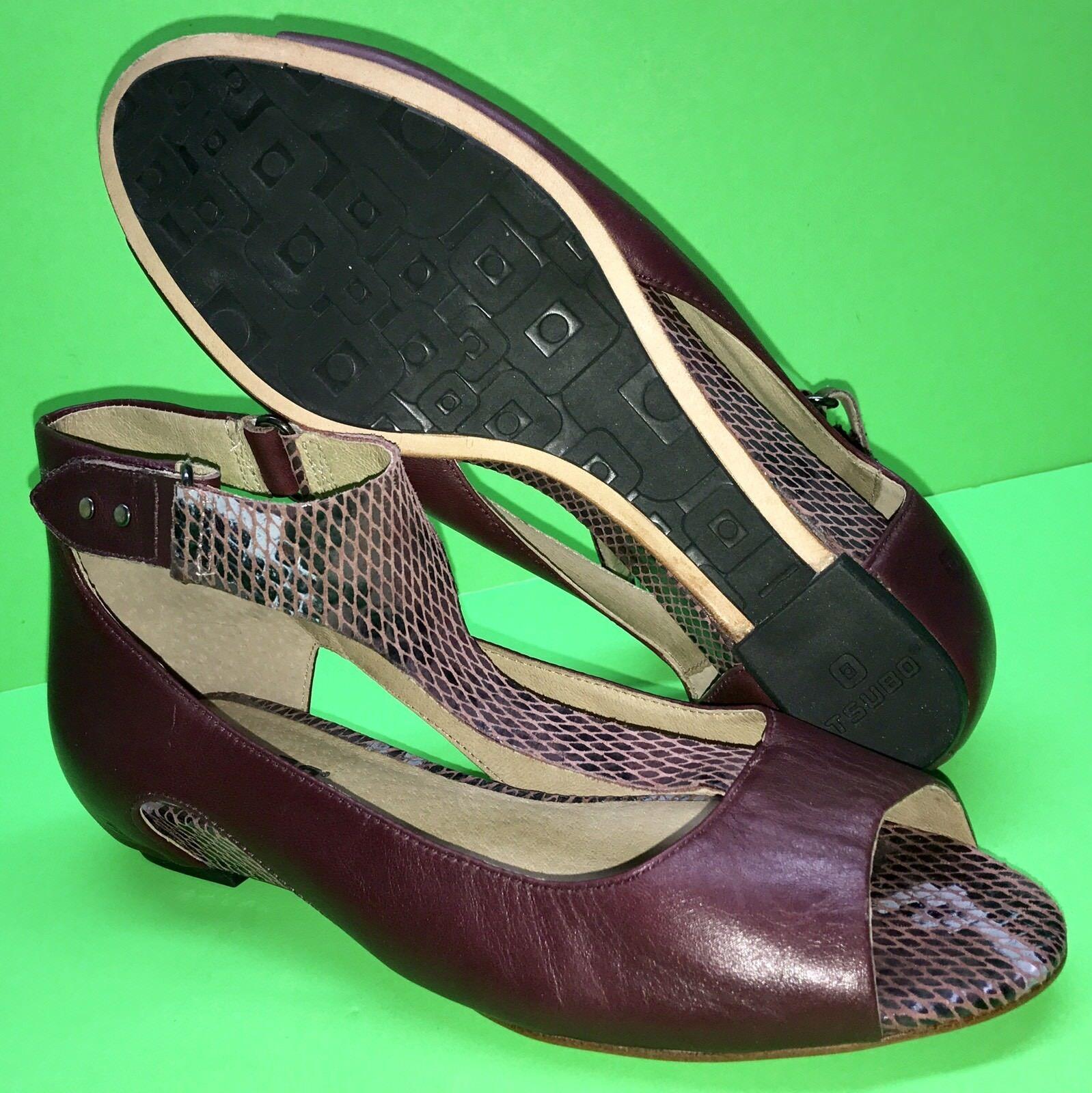 TSUBO ' Gerri ' Leather Adjustable Ankle Strap Peep Wedge Sandal shoes 37 US 6