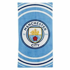 Manchester-city-fc-Impulsion-Serviette-Bain-Plage-100-Coton-Football-Club-Crest