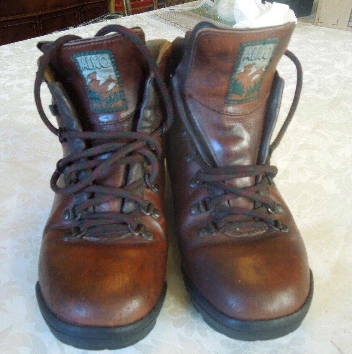 ALICO Bottes De Randonnée fabriqué en Italie en cuir marron femme 9.5 L Vibram Semelles Nice
