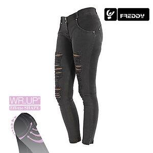 Freddy-WR-UP-Jeans-Skinny-Fit-WRUP1RH6E-N-COL-NERO-CHIARO-EFFETTO-STRAPPATO-NEW