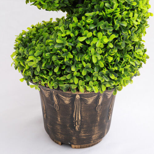 2PCS Fake Artificial Boxwood Buxus Tower Tree Topiary Twist Spiral Bush with Pot