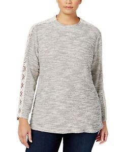 f493cd2ec52de Style   Co. Women s Plus Size Lace Trim Marled Metallic Top - Warm ...