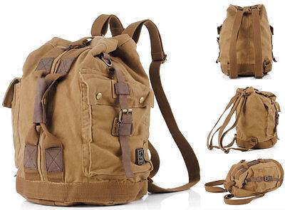 UK NEW Vintage Retro Canvas & Leather Backpack Rucksack School Laptop Duffle Bag