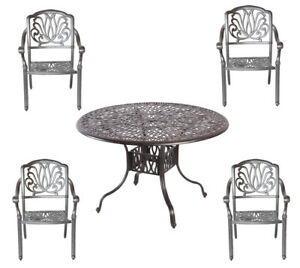 Image Is Loading 5 Piece Outdoor Dining Set Cast Aluminum Outdoor