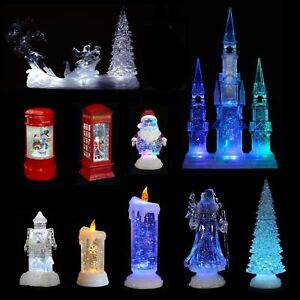 Colour Changing Led Light Up Glitter Water Ornament Christmas Xmas
