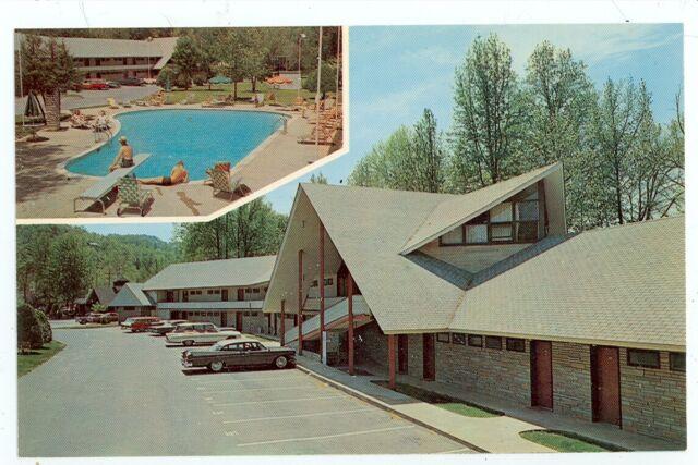 Twin Island Motel and Ogles Cafe Gatlinburg, TN Postcard