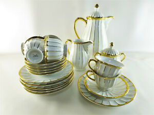 6x Kahla Gedeck, Tasse, Untertasse, Kuchenteller, Kaffekern weiß mit Goldrand