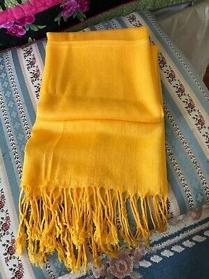 Pashmina Scarf Shawl Veil Off Yellow Gold Mustard Wrap Woman Wedding Accessory Ebay