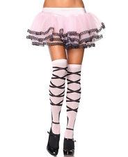 BALLERINA PINK BALLET SOCKS OVERKNEE LEG AVENUE FAUX RIBBONS HARAJUKU STOCKINGS