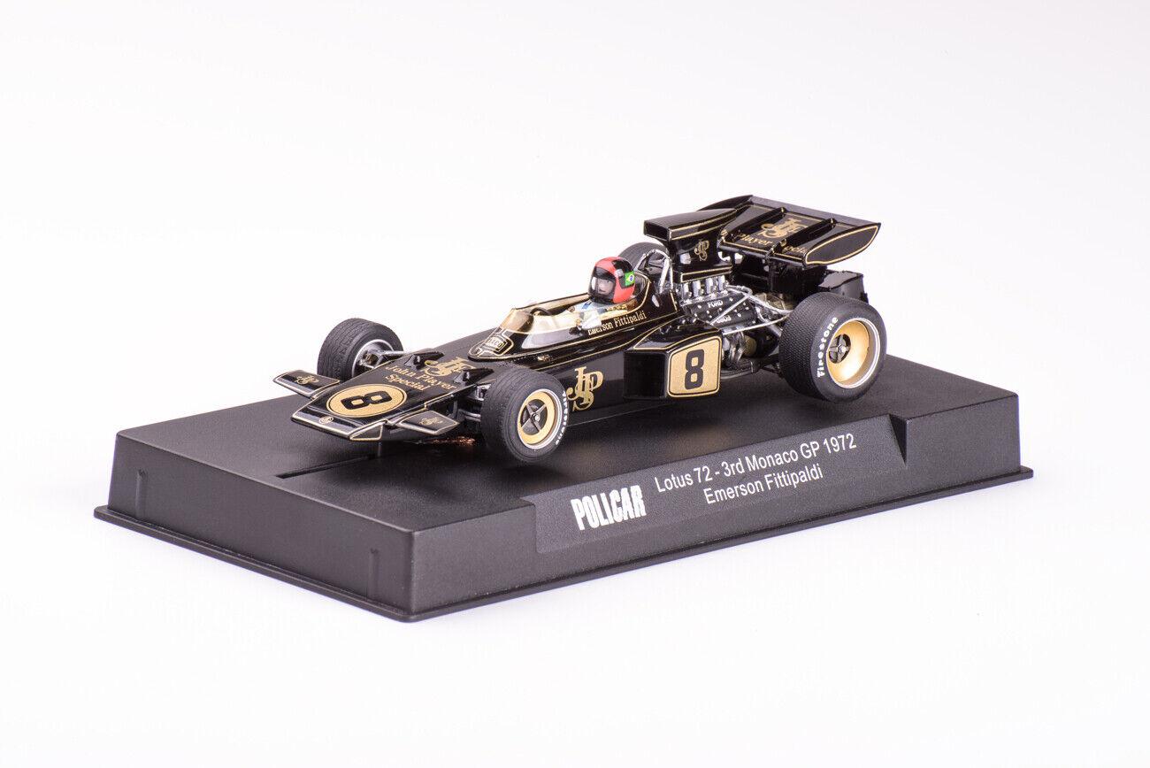 PoliCoche Coche02C Lotus 72 Monaco GP 1972 JPS uso en pista Scalextric Slot Coche
