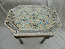 "Egyptian Inlaid Mother of Pearl Paua Wooden Table Unique Hexagonal Long 12""X16"""