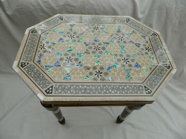 """Egyptian Inlaid Mother of Pearl Paua Wooden Table Unique Hexagonal Long 12""""X16"""""""