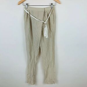 Satch-Womens-Pants-Size-6-Pure-Silk-Beige-With-Belt-And-Pockets