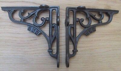 "6/"" PAIR GWR RAILWAY antique Vintage style cast iron shelf bracket wall mounted"