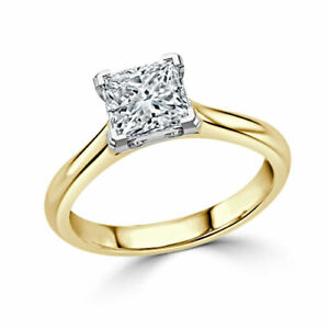 2.00 Ct Princess Solitaire Moissanite Wedding Ring 14K Solid Yellow Gold Size 7