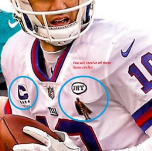 low priced f8352 fd618 Details about New York GIANTS Eli Manning QB 3-Patch Set: 4⭐Color Rush +  Man of the Year + JHT