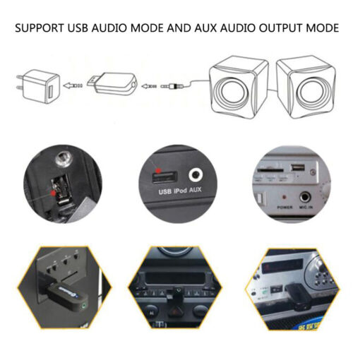 USB Bluetooth Music Audio Receiver 3.5mm AUX to USB Adapter Car/& Speaker