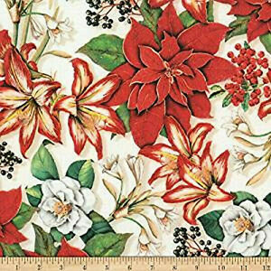 Holly Jolly Christmas.Details About Holly Jolly Christmas Poinsettias Red Robert Kaufman Digital Print Bfab