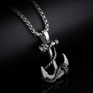 Silver-Men-Necklace-Anchor-Cross-Pendant-Short-Chain-Women-Black-Jewelry-Gift