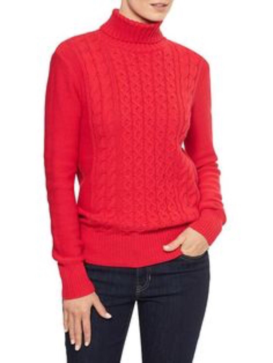 NWT Women's GAP Cable Knit Turtleneck Sweater, Long Sleeves, RED ...