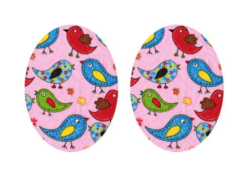 Rosa pájaro de hierro//coser parche de Apliques de Rodilla//codo//artesanía//niños//Jeans L Oval X2