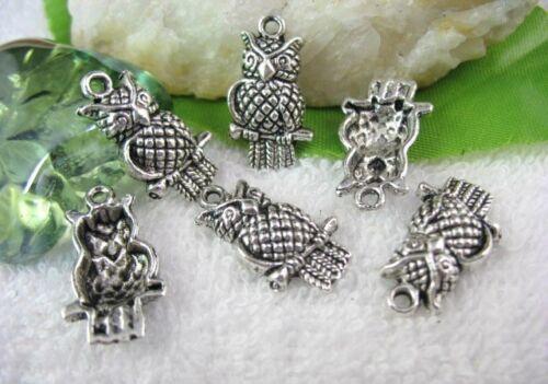 50PCS Tibetan Silver Owl Charms FC10093