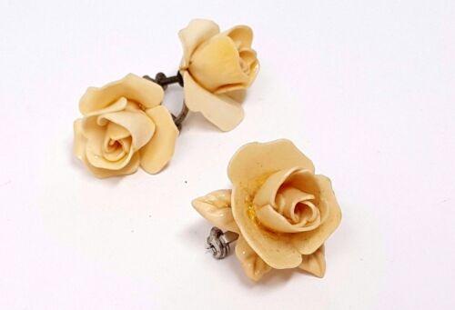 Vintage White Rose Screw Back Earrings Vintage Earrings Mid-century Roses