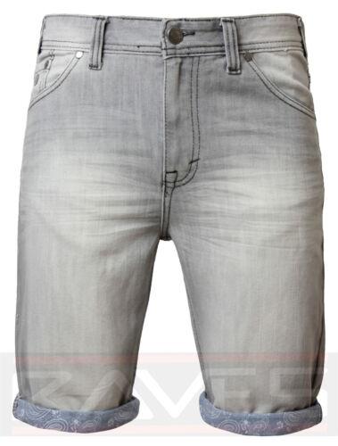 Mens Denim Shorts Jeans Threadbare Knee Length Faded Roll Up Casual Summer