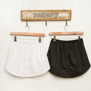 Lady-Fake-False-Shirt-Tail-Blouse-Hem-Cotton-Stripe-Detachable-Skirt-Underskirt