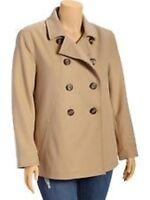 Old Navy Women's Plus Wool Blend Peacoat Coat Jacket 1X 2X 4X NEW Brown Khaki