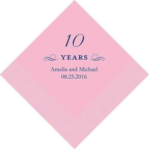 500 Impreso décimo aniversario de cumpleaños cóctel Servilletas