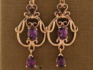 E040-Genuine-9ct-SOLID-Rose-Gold-NATURAL-Rhodolite-Garnet-Filigree-Drop-Earrings