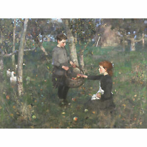 Guthrie-Children-Apple-Orchard-Painting-Large-Canvas-Art-Print