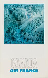 Affiche Originale - Raymond Pages - Air France - Canada - Tourisme - 1971
