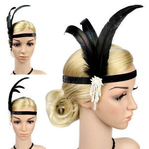 Feather-Sequin-Headband-Flapper-Great-Gatsby-1920s-Black-Head-Piece-Headwear-UK