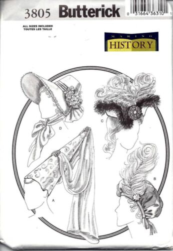 BUTTERICK 3805 OOP HISTORICAL HATS for COSTUMES REDUCED