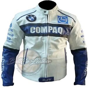 NEU BMW Compaq Original Kuhfell weißes Leder Motorrad Rennen Biker Jacke