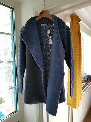 Bnwt Joanna Hope Grey Cape,jacket,cardigan With Faux Fur Trim One Size Plus