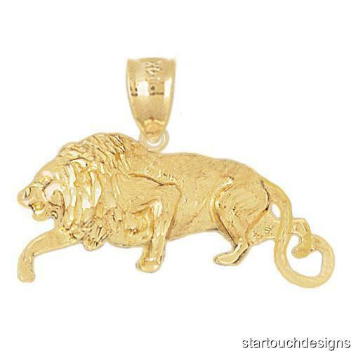 New 14k Yellow gold Lion Leo Pendant