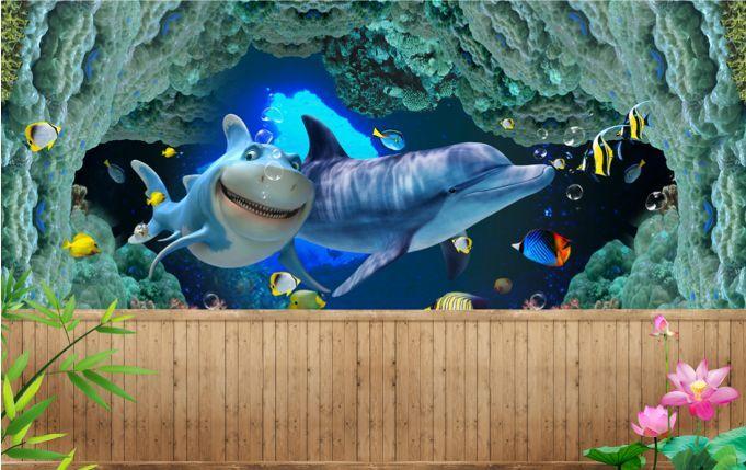 3D Caves Dolphin Ocean Paper Wall Print Decal Wall Wall Murals AJ WALLPAPER GB