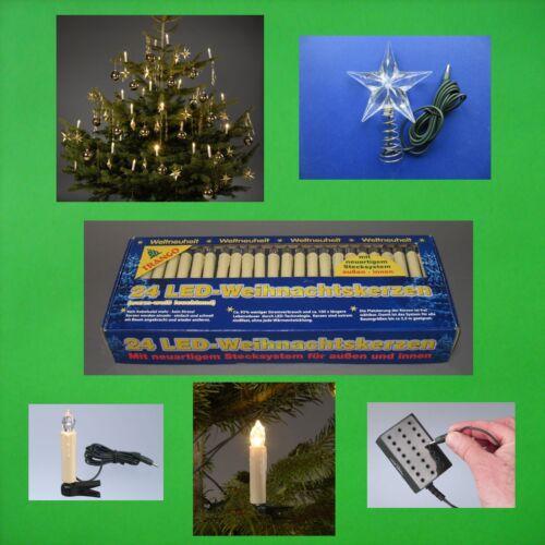 2x 24 LED Lichterkette Stern Außen Tannen Baum Kerzen Weihnachten Christbaum OVP