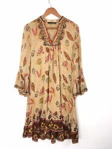 Zara-Woman-Yellow-Multi-Embroidered-Ethnic-Peasant-Boho-Eastern-Dress-M-8-10