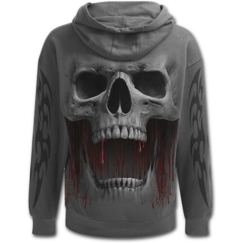 Spiral pullover skull rock dark Hooded Death Wear goth Roar vampire cappuccio Direct rvCxqFwIr