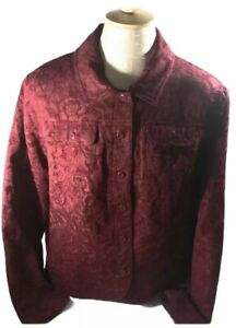 Croft-amp-Barrow-Burgundy-Red-Tapestry-Button-Front-Knit-Jacket-SZ-XL