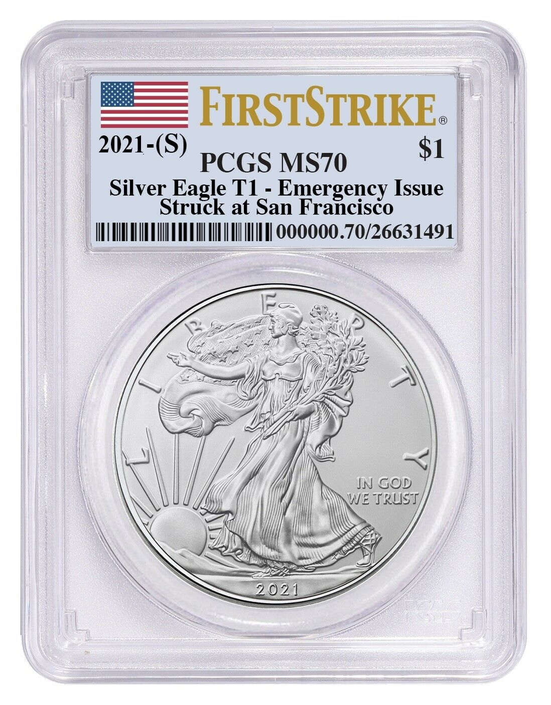 Silver Eagle PCGS MS70 First Strike Emergency Issue San Francisco Lbl 2020 S