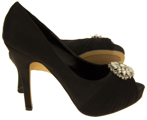 Ladies Satin SABATINE Diamante Brooch Bridal Wedding Shoes Sizes 3 4 5 6 7 8