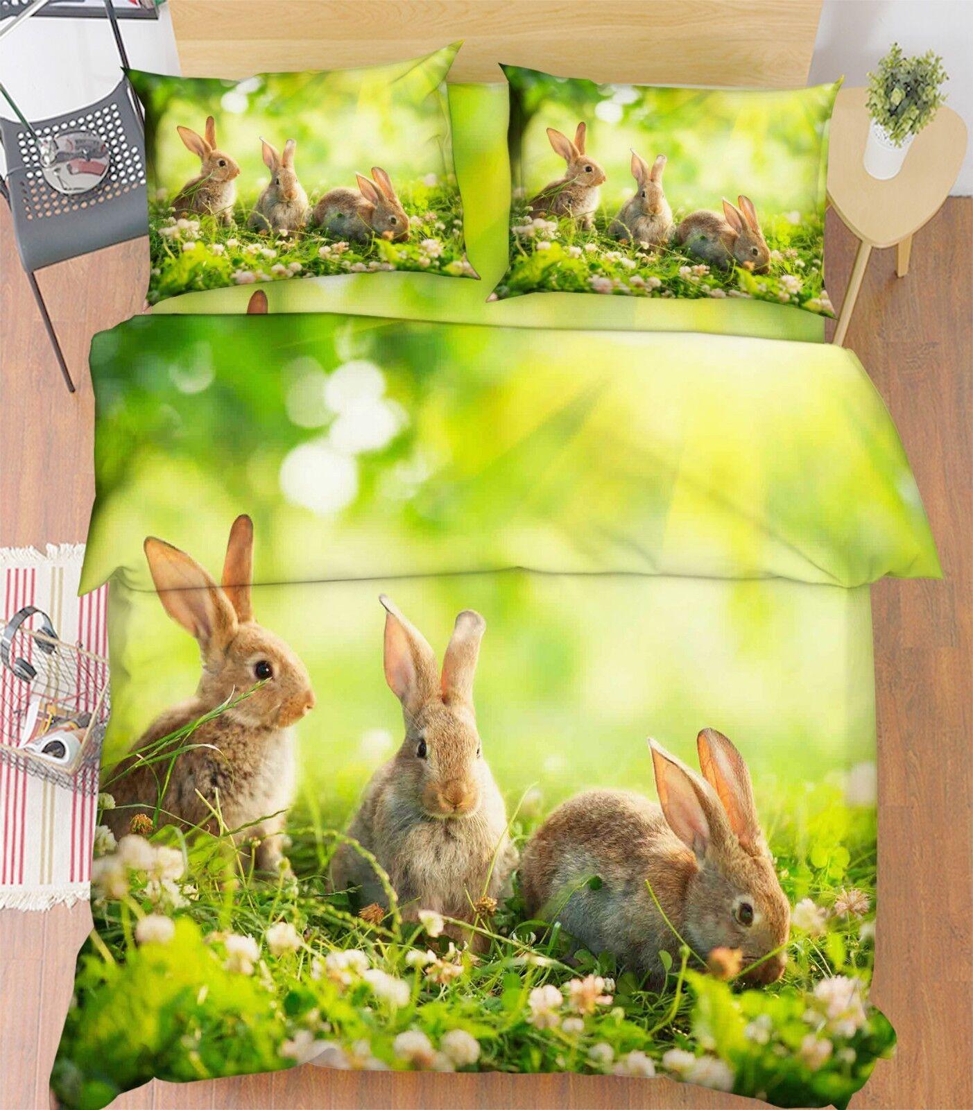 3D Rabbit Meadow 7898 Bed Pillowcases Quilt Duvet Cover Set Single Queen King CA